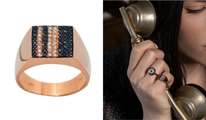 Δαχτυλίδι Σεβαλιέ από Ροζ Χρυσό Κ18 με Διαμάντια 019344