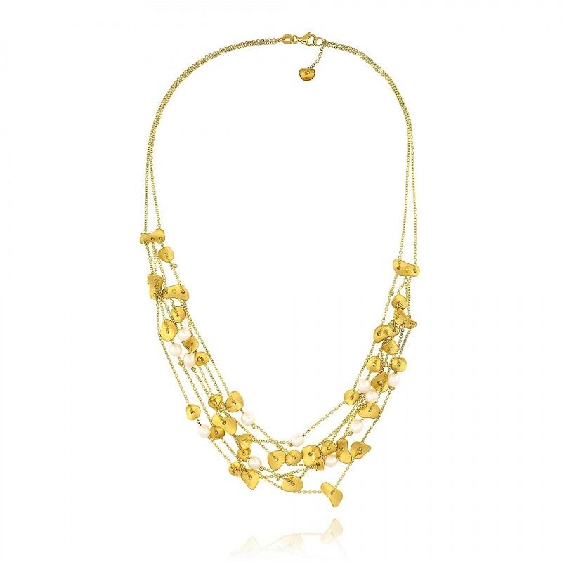 Κολιέ από Κίτρινο Χρυσό 18 Καρατίων με Μαργαριτάρια 001232
