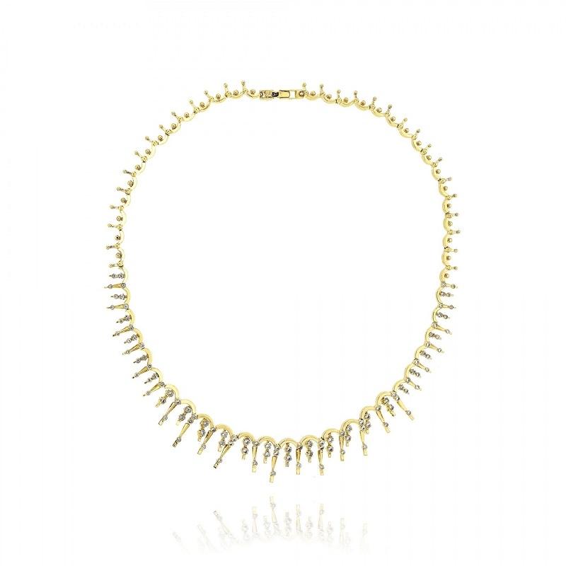 Κολιέ Κίτρινο Χρυσό 14 Καρατίων Κ14 με Πέτρες Ζιργκόν 010807