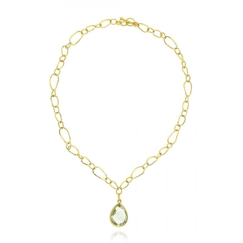 Αλυσιδωτό Κολιέ Κίτρινο Χρυσό 18 Καρατίων Κ18 με Πράσινο Αμέθυστο 012817