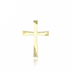 Σταυρός Βάπτισης από Κίτρινο Χρυσό Κ14 και Ζιργκόν 034742