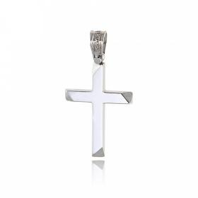 Σταυρός Βάπτισης Τριάντος για Αγόρι από Λευκό Χρυσό Κ14 034743