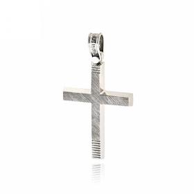 Σταυρός Βάπτισης Τριάντος για Αγόρι από Λευκό Χρυσό Κ14 036592