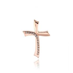 Σταυρός Βάπτισης Τριάντος για Κορίτσι από Ροζ Χρυσό Κ14 και Ζιργκόν 034741