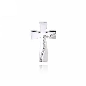Σταυρός Βάπτισης Τριάντος για Κορίτσι από Λευκό Χρυσό Κ14 με Ζιργκόν 034735