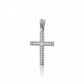 Σταυρός Βάπτισης Τριάντος για Κορίτσι Λευκό Χρυσό Κ14 με Πέτρες Ζιργκόν 031648