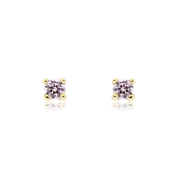 Μονόπετρα Σκουλαρίκια από Κίτρινο Χρυσό 14 Καρατίων με Πέτρες Ζιργκόν 022748
