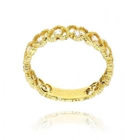 Δαχτυλίδι από Κίτρινο Χρυσό Κ14 με Πέτρες Ζιργκόν 034195