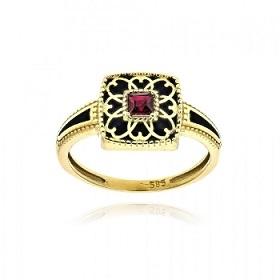Δαχτυλίδι από Κίτρινο Χρυσό Κ14 με Πέτρες Ζιργκόν 036370
