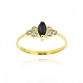 Δαχτυλίδι από Κίτρινο Χρυσό Κ14 με Πέτρες Ζιργκόν και Ζαφείρι 035977