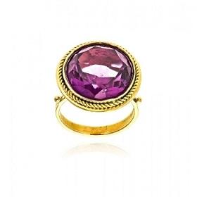 Δαχτυλίδι από Κίτρινο Χρυσό Κ18 με Αμέθυστο 035985