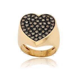 Δαχτυλίδι Καρδιά Σεβαλιέ Ροζ Χρυσό Κ18 με Διαμάντια Μπριγιάν 007279