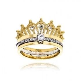 Δαχτυλίδι Κορώνα από Λευκό και Κίτρινο Χρυσό Κ14 με Πέτρες Ζιργκόν 034812