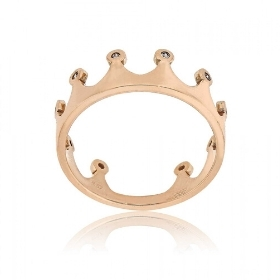 Δαχτυλίδι Κορώνα από Ροζ Χρυσό 14 Καρατίων με Πέτρες Ζιργκόν 033033