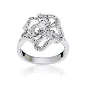 Δαχτυλίδι Λευκό Χρυσό 18 Καρατίων Κ18 με Διαμάντια Μπριγιάν 000878