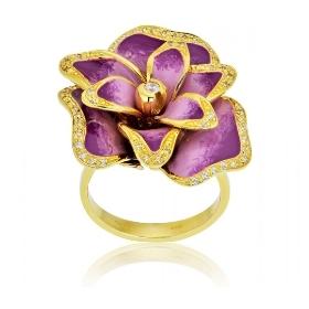 Δαχτυλίδι Λουλούδι από Κίτρινο Χρυσό Κ18 με Πέτρες Ζιργκόν 003472