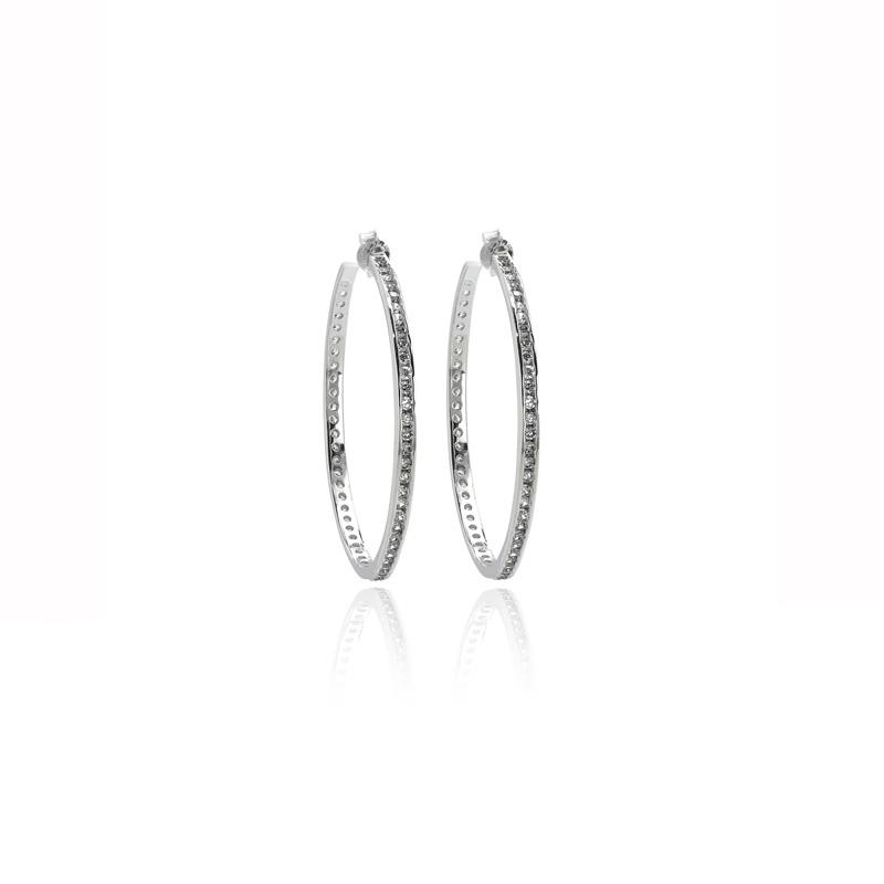Σκουλαρίκια Κρίκοι από Ασήμι 925 με Πέτρες Ζιργκόν 021201