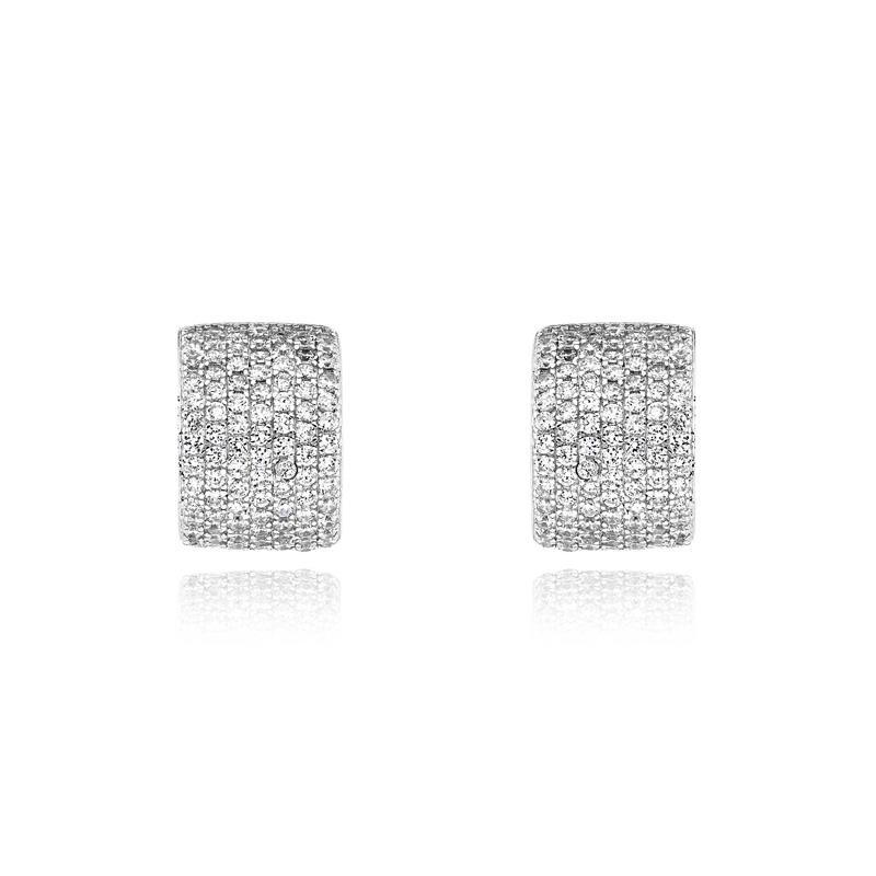 Σκουλαρίκια Κρίκοι από Ασήμι 925 με Πέτρες Ζιργκόν 032887