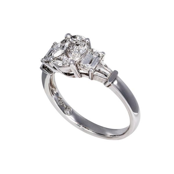 Δαχτυλίδι Ροζέτα Λευκό Χρυσό 18 Καρατίων Κ18 με Διαμάντια Μπριγιάν 007343