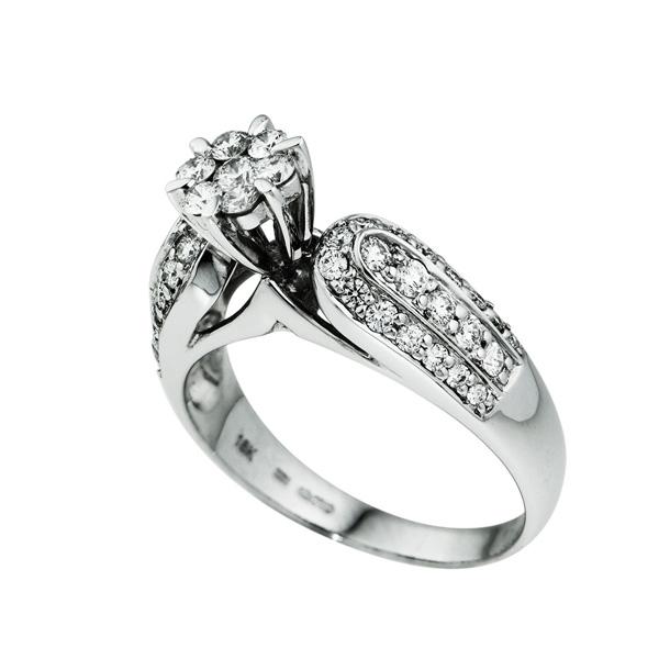 Μονόπετρο Δαχτυλίδι Λευκό Χρυσό 18 Καρατίων Κ18 με Διαμάντια Μπριγιάν 009929