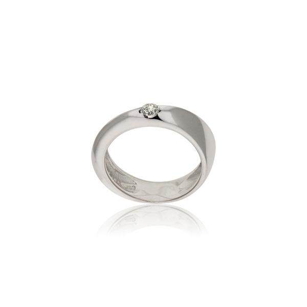 Μονόπετρο Δαχτυλίδι Λευκό Χρυσό 18 Καρατίων Κ18 με Διαμάντι Μπριγιάν 030840