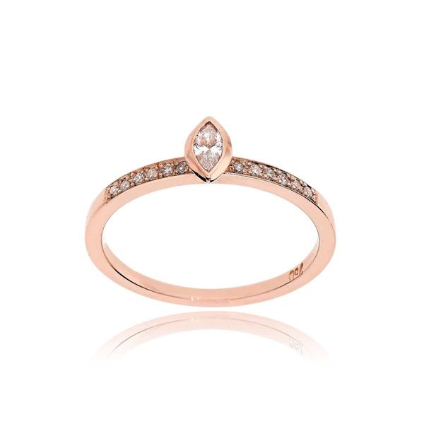 Μονόπετρο Δαχτυλίδι Ροζ Χρυσό Κ18 με Διαμάντια 032676
