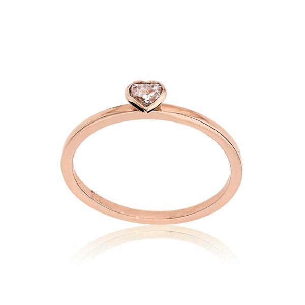 Μονόπετρο Δαχτυλίδι Ροζ Χρυσό Κ18 με Διαμάντι Μπριγιάν 032679