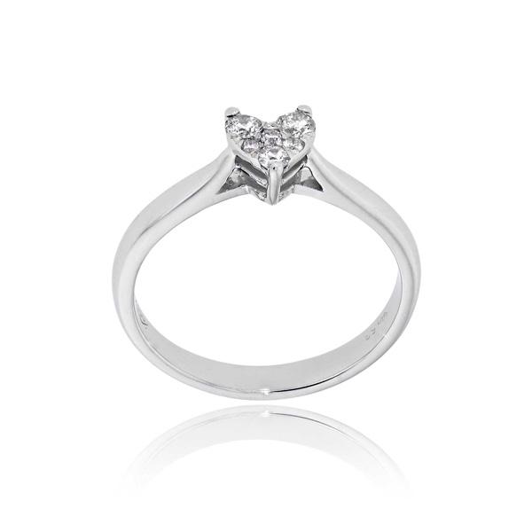 Μονόπετρο Δαχτυλίδι Λευκό Χρυσό 18 Καρατίων Κ18 με Διαμάντια Μπριγιάν 032877