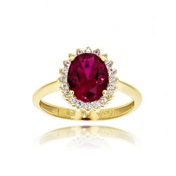 Δαχτυλίδι από Κίτρινο Χρυσό Κ14 με Πέτρες Ζιργκόν 035033