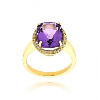 Δαχτυλίδι από Κίτρινο Χρυσό Κ18 με Διαμάντι και Ορυκτές Πέτρες 009076
