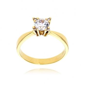 Δαχτυλίδι Μονόπετρο από Κίτρινο Χρυσό 14 Καρατίων με Πέτρες Ζιργκόν 007808