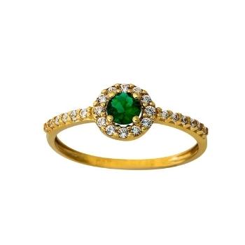 Δαχτυλίδι Ροζέτα Κίτρινο Χρυσό 14 Καρατίων (Κ14) με Ζιργκόν 021764