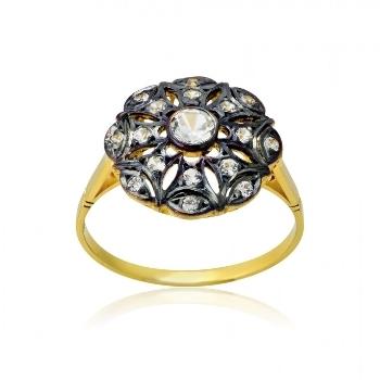 Δαχτυλίδι Vintage Κίτρινο Χρυσό 18 Καρατίων Κ18 με Πέτρες Ζιργκόν 022655