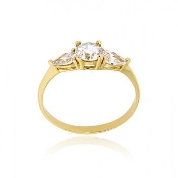 Μονόπετρο Δαχτυλίδι από Κίτρινο Χρυσό Κ14 με Πέτρες Ζιργκόν 033182