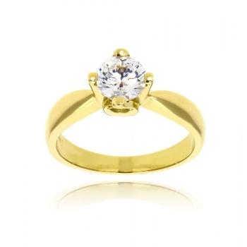 Μονόπετρο Δαχτυλίδι από Κίτρινο Χρυσό Κ14 με Πέτρες Ζιργκόν 034893