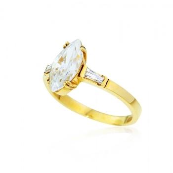 Μονόπετρο Δαχτυλίδι Κίτρινο Χρυσό 14 Καρατίων με Πέτρες Ζιργκόν 002870