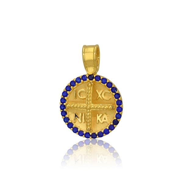 Παιδικό Μενταγιόν Κωνσταντινάτο για Αγόρι Κίτρινο Χρυσό Κ9 030640