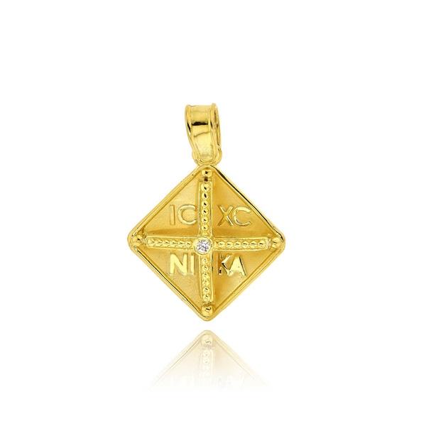 Παιδικό Μενταγιόν Κωνσταντινάτο για Κορίτσι από Κίτρινο Χρυσό Κ9 033205