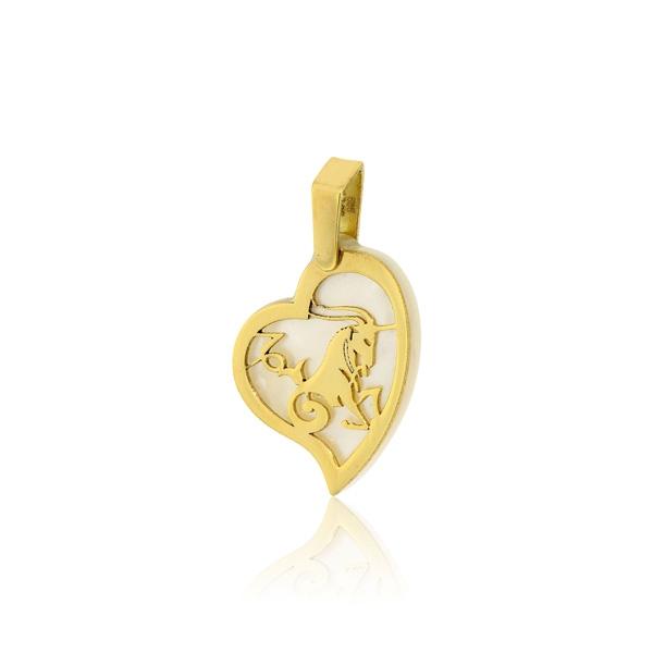 Παιδικό Μενταγιόν Ζώδιο Αιγόκερως Κίτρινο Χρυσό Κ14 πάνω σε Φίλντισι 030149
