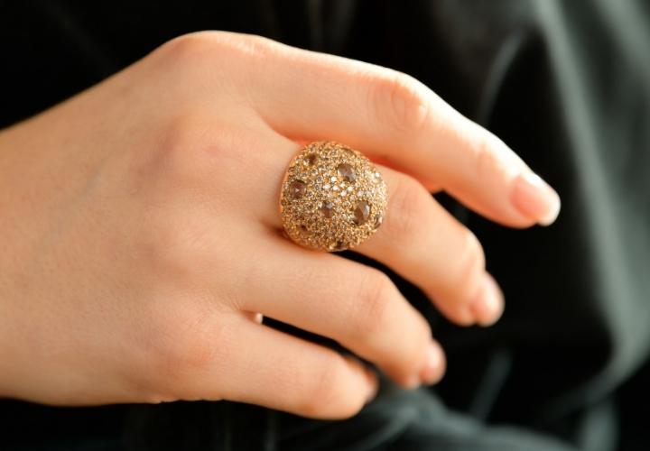 Δαχτυλίδι Ροζ Χρυσό 18 Καρατίων Κ18 με Ζιργκόν και Ορυκτές Πέτρες 015551