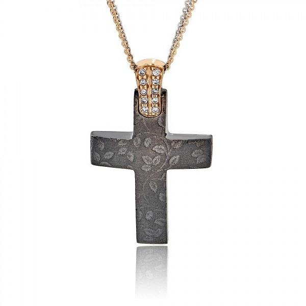 Σταυρός Βάπτισης με Αλυσίδα Val΄Oro για Κορίτσι Ροζ Χρυσό Κ14 033116