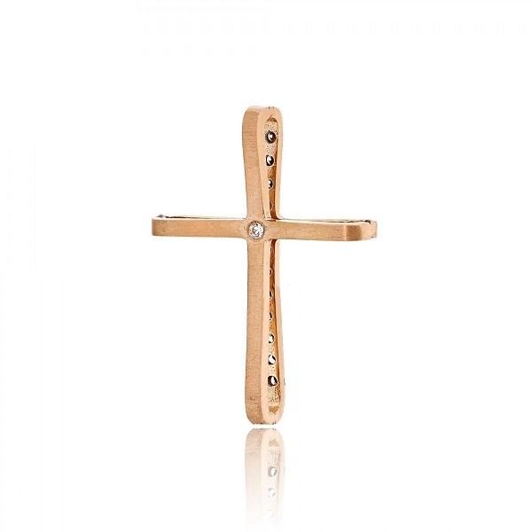 Σταυρός Βάπτισης Val΄Oro για Κορίτσι Ροζ Χρυσό Κ14 με Πέτρες Ζιργκόν, κωδ. 033120