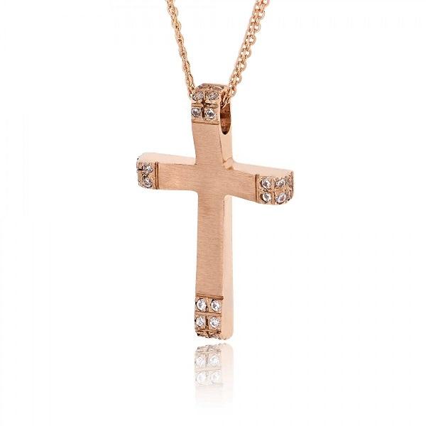 Σταυρός Βάπτισης Val΄Oro με Αλυσίδα για Κορίτσι Ροζ Χρυσό Κ14 με Πέτρες Ζιργκόν 033132