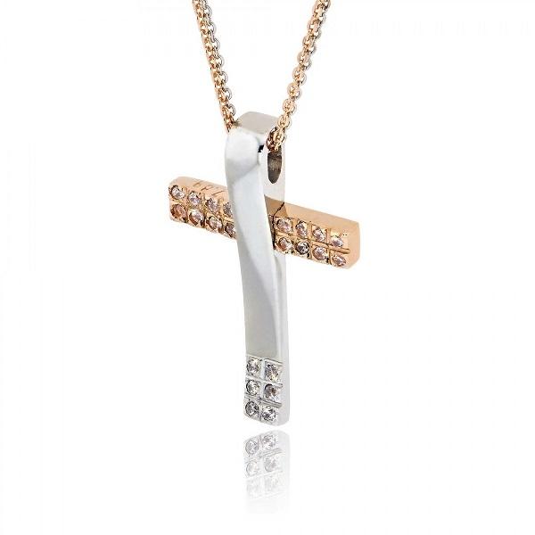 Σταυρός Βάπτισης Val΄Oro με Αλυσίδα για Κορίτσι Λευκό & Ροζ Χρυσό Κ14 033144