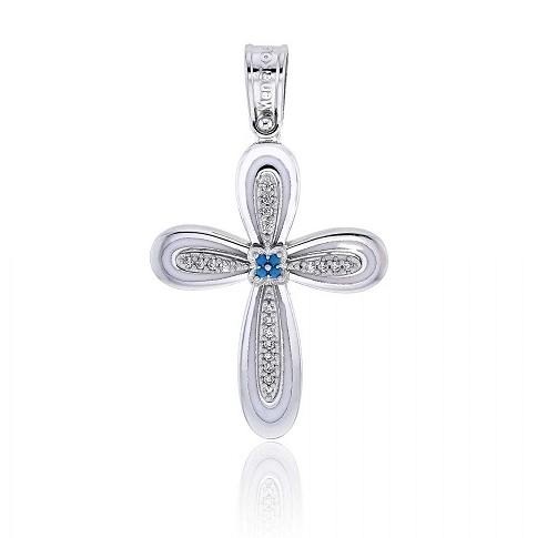 Σταυρός Βάπτισης για Κορίτσι Λευκό Χρυσό Κ14 με Πέτρες Ζιργκόν & Σμάλτο, κωδ. 033437