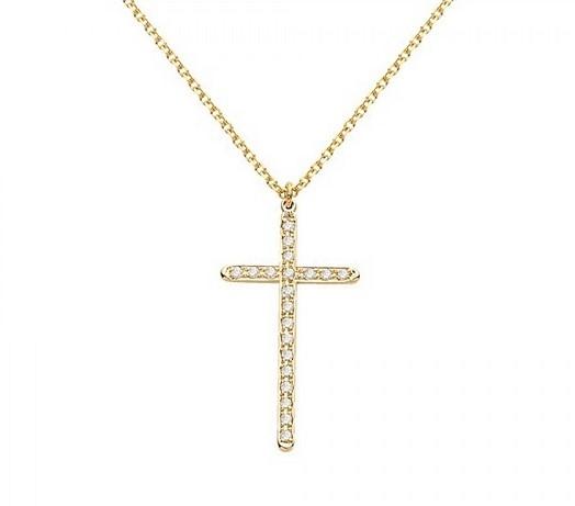 Σταυρός Βάπτισης για Κορίτσια από Κίτρινο Χρυσό Κ14 και Διαμάντια, κωδ. 034380