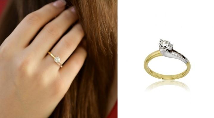 Μονόπετρο Δαχτυλίδι Κίτρινο και Λευκό Χρυσό Κ18 με Διαμάντι Μπριγιάν 031444
