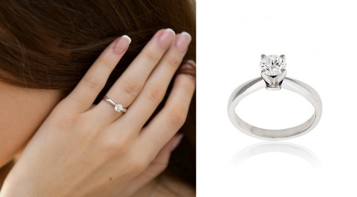 Μονόπετρο Δαχτυλίδι Λευκό Χρυσό 18 Καρατίων Κ18 με Διαμάντι Μπριγιάν 031618
