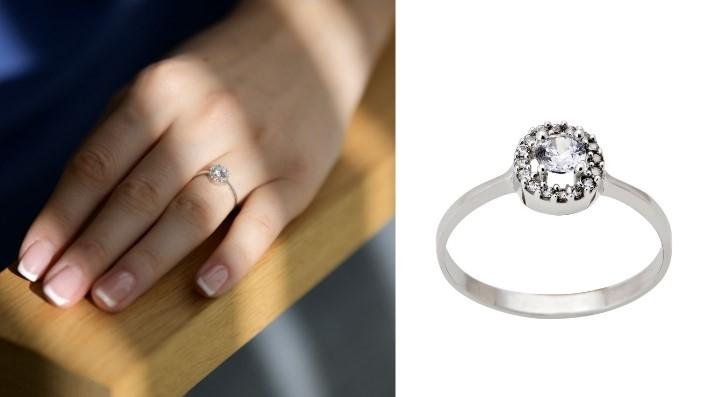 Μονόπετρο Δαχτυλίδι Ροζέτα από Λευκό Χρυσό Κ14 με Πέτρες Ζιργκόν 032085
