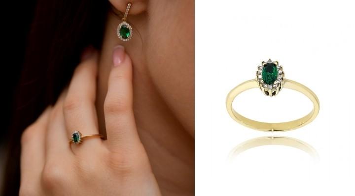 Δαχτυλίδι Ροζέτα από Κίτρινο Χρυσό 14 Καρατίων με Πέτρες Ζιργκόν 032707